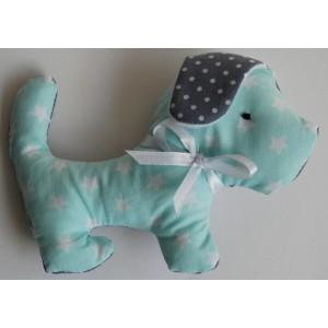 Knuffel hond grijs/mint