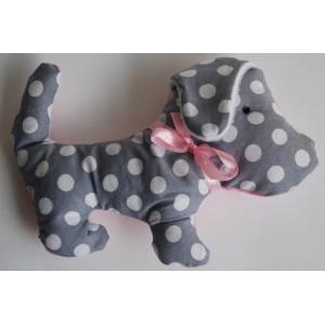Knuffel hond roze/grijs